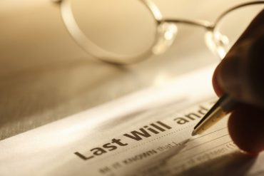 Person completing last will and testament