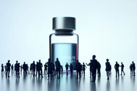 Digital generated image of huge COVID-19 vaccine bottle standing surrounded by people