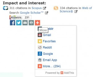 Share buttons on QUT eprints