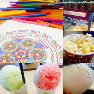 Colouring in, popcorn, fairy floss and snow cones were all on offer in the Library this Mental Health Week