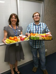 Some lovely Library staff with platters of healthy snacks for students in our Library Chillout Zones for Mental Health Week 2015.
