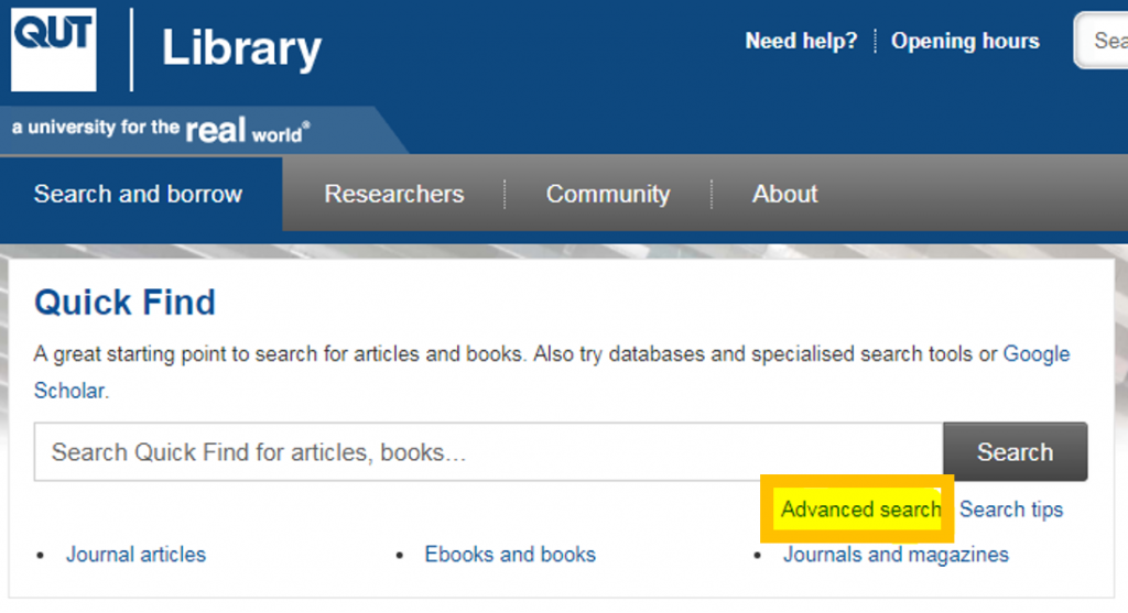 QUT Library Homepage with advanced search icon highlighted.