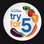 Nutrition Australia - Try for 5. pictures of broccoli, tomato, yellow capsicum, carrot and eggplant