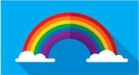 rainbow on blue background with white clouds