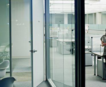 Business woman in empty modern office