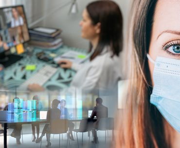 decorative image - office worker in medical mask with home office and work boardroom in background