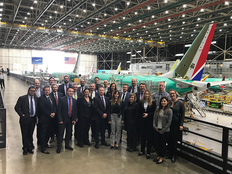 QUT students at the Boeing737 facility in Renton