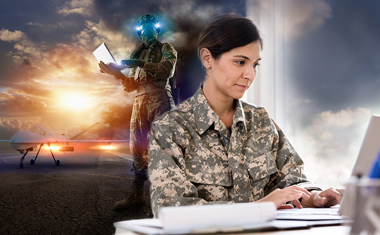 Female soldier working on a computer with futuristic army person and drone behind