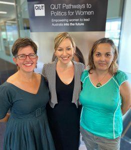 Sally with Larissa Waters and Raelene Ellis.