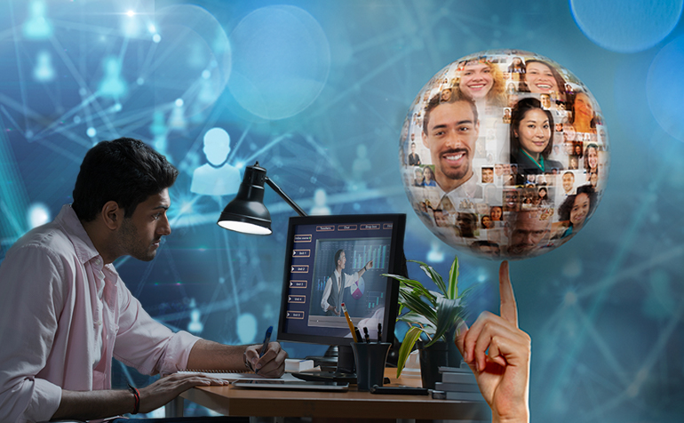 Decorative image - young man in front of computer with world at his fingertips and connections image background