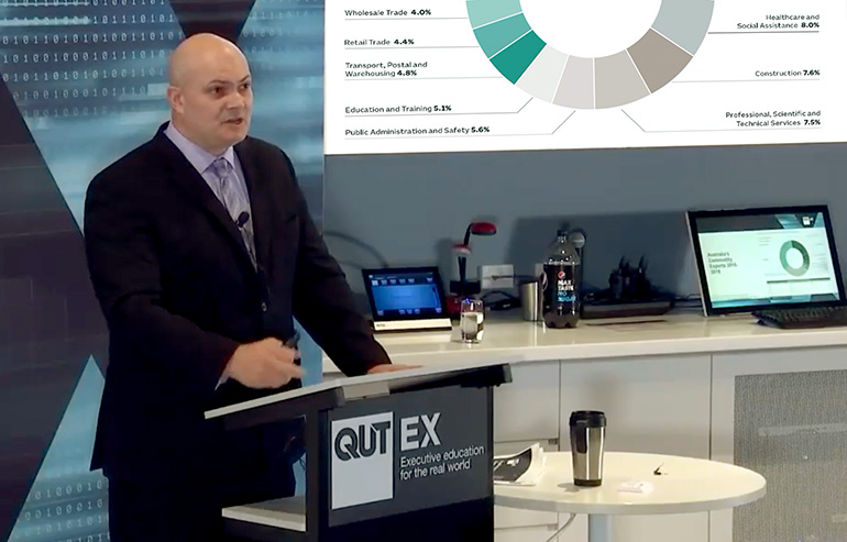 Rob Perrons presenting at the recent Real World Futures event