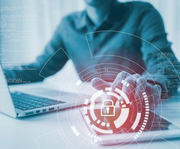 Lock glowing icon pressed with finger, Cyber security, Information privacy, Data protection. Internet and technology concept on virtual screen.