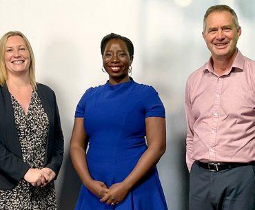 Left to right: Kelly Lorentz, Rhoda Tumusiime, Dr Peter Anderson