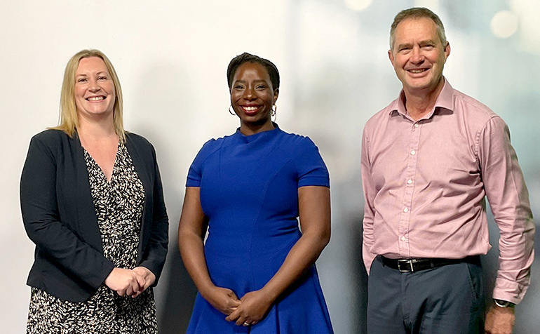 Left to right: Kelly Lorentz, Rhoda Tumusiime, Dr Peter Anderson