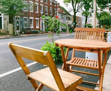 Empty cafe table