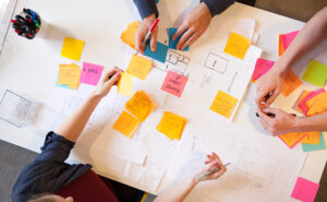 Team project planning with sticky notes