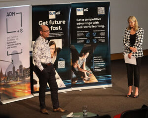 Prof Axel Bruns and Prof.Melinda Edwards at the Real World Futures event