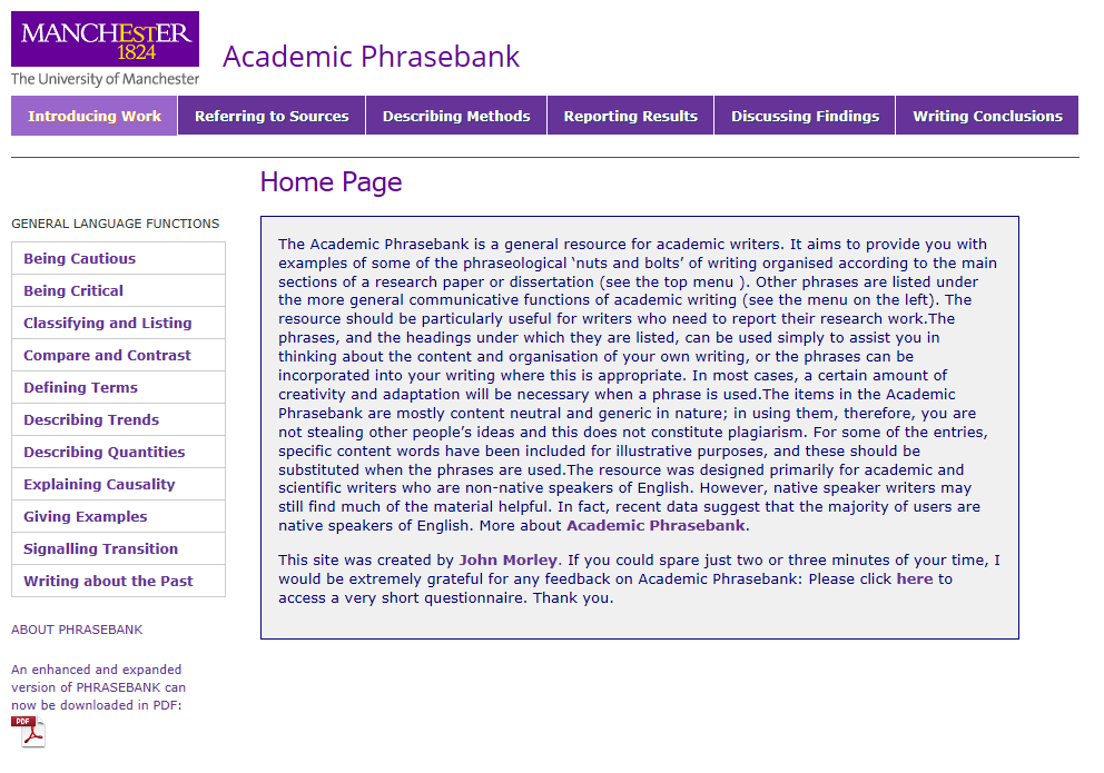 Academic Phrasebank website